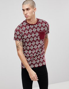Read more about Brave soul all over aztec print t-shirt - red