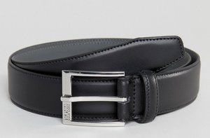 Read more about Boss smooth leather belt in black - 001