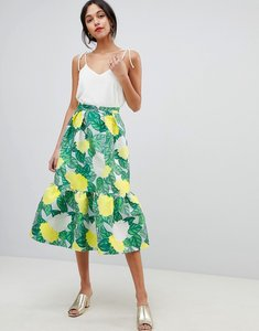 Read more about Asos design pep hem midi skirt in bloom jacquard - multi