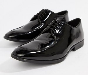 Read more about Asos design wide fit lace up shoes in black patent leather - black