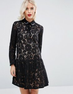 Read more about Asos premium smock dress with embellished collar in lace - black