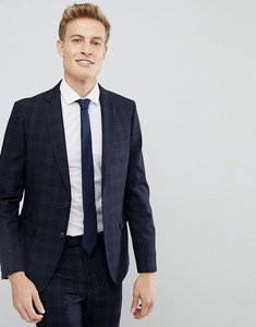 Read more about Moss london skinny suit jacket in check - navy check