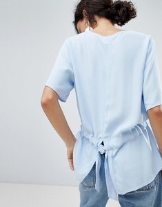 Read more about Selected femme drop hem blouse - blue