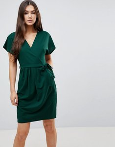 Read more about Qed london wrap front tulip dress - bottle green