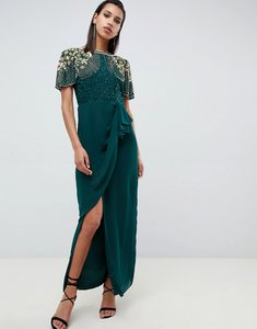 Read more about Virgos lounge ariann embellished maxi dress with frill wrap skirt in emerald green - emerald green