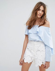 Read more about Miss selfridge frill bardot top - blue