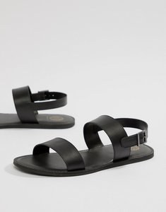 Read more about Kg by kurt geiger double strap sandals in black leather - black