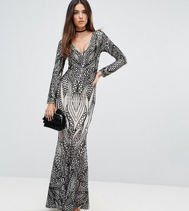 Read more about Club l placement sequin maxi dress - nude black sequin