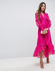 Read more about Asos deconstructed lace midi dress with frill insert - bright pink