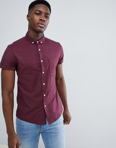 Read more about Asos design casual slim oxford shirt in burgundy - burgundy
