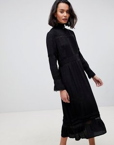 Read more about See u soon high neck midi dress with lace inserts - black