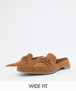 3bfda97f1786 Read more about Asos design wide fit vegan friendly loafers in tan faux  suede with snaffle