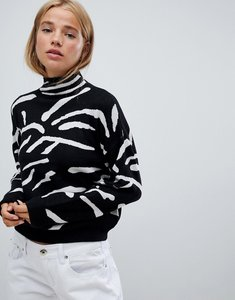 Read more about Qed london abstract zebra print high neck jumper - black and white