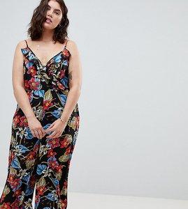 Read more about Influence plus tropical print wide leg jumpsuit - black floral