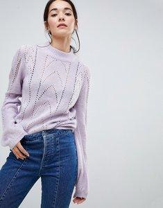 Read more about Vila open knit cable knit high neck jumper - purple