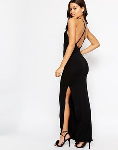 Read more about Asos halter strappy back maxi dress - black