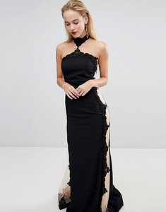 Read more about Forever unique halter neck maxi dress with insert - black