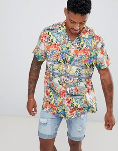 Read more about Asos design oversized hawaiian floral postcard print shirt with revere collar - blue
