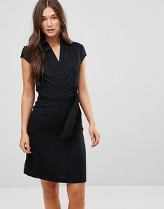 Read more about Liquorish cap sleeve animal jaquard dress with d-ring and attached belt - black