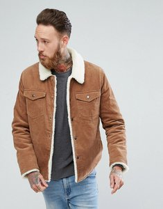 Read more about Asos borg lined cord jacket in tan - brown