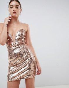 Read more about In the style daelyn rose gold sequin plunge bandeau mini dress - rose gold