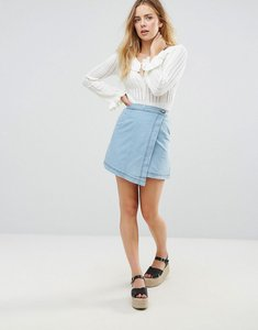Read more about Mink pink float denim wrap mini skirt - denim blue