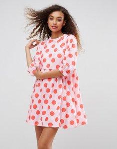 Read more about Asos polka dot smock dress with elastic cuff detail - polka dot