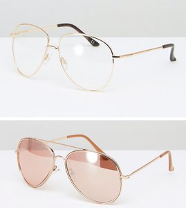 Read more about Asos 2 pack geeky aviator and rose gold aviator sunglasses - rose gold