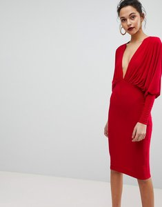 Read more about Club l slinky batwing v plunge gathered detailed midi dress - red
