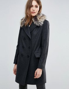 Read more about French connection platform faux fur collar wool mix coat - dark grey mel