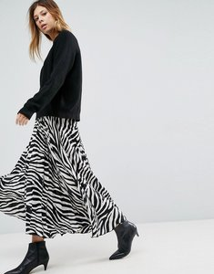 Read more about Asos satin pleated midi skirt in zebra print - multi