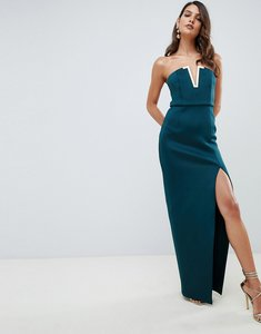 Read more about Asos design bandeau maxi dress with gold bar detail - teal