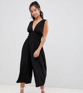 1a51d1e560 Read more about Asos design petite ruched waist plunge jumpsuit - black