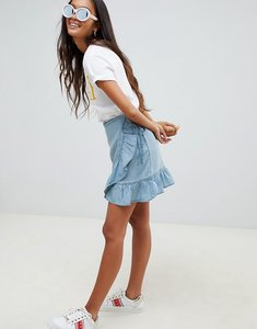 Read more about Asos design denim wrap skirt with frill in tencel - blue