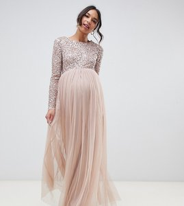 b03f79b0762c1 Read more about Maya maternity long sleeved maxi dress with delicate sequin  and tulle skirt -