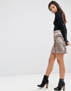 Read more about Asos a-line ruffle mini skirt in satin - silver