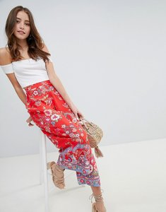 Read more about Miss selfridge printed crop wide leg trouser - multi
