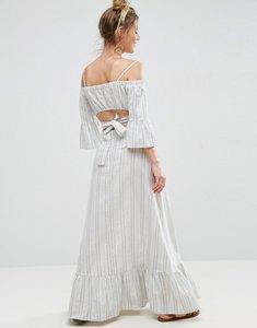 Read more about Asos open back maxi dress in natural fibre stripe - multi