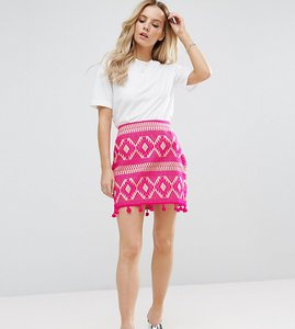 Read more about Asos petite mini skirt in jacquard with pom pom hem - pink