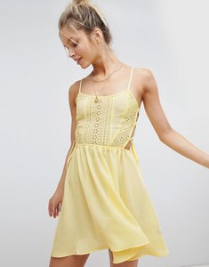 Read more about Asos design broderie tie side beach dress - yellow