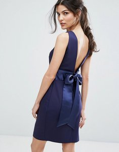 Read more about Closet london bow back midi dress with wrap skirt - navy