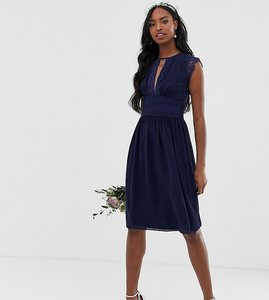 Read more about Tfnc tall lace detail midi bridesmaid dress in navy