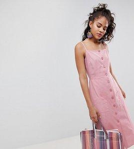Read more about Asos design tall button through linen midi sundress - blush