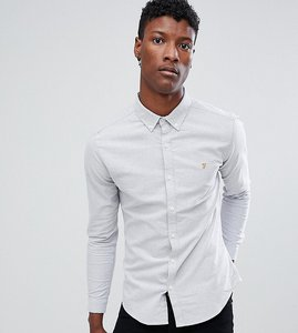 Read more about Farah sansfer super slim fit oxford shirt in grey - grey