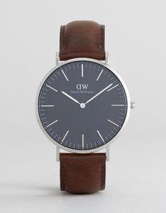 Read more about Daniel wellington classic black bristol leather watch with silver dial 40mm - brown