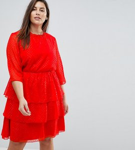 Read more about Junarose sparkle ruffle dress skater dress - red