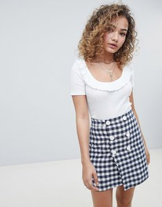 Read more about Miss selfridge scoop neck crop top with frill detail in white - white