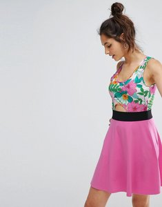 Read more about Asos mini skater dress with cut out in floral print - multi