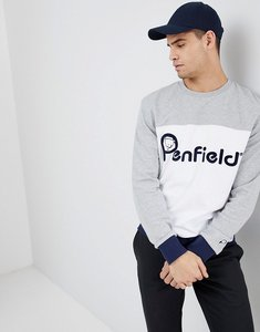 Read more about Penfield orso crew neck sweatshirt front logo cut sew in grey white - grey white