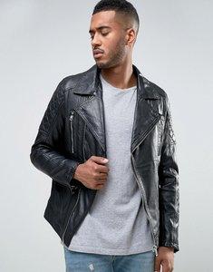 Read more about Barneys leather biker jacket - black